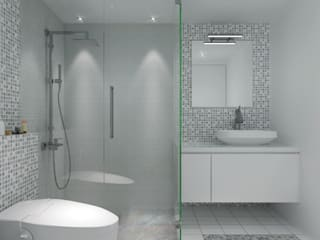 SMART DESIGN FOR LIMITED SPACE @ THE WAVE, EPICENTRUM, KUNINGAN:  Kamar Mandi by PT. Dekorasi Hunian Indonesia (D&H Interior)