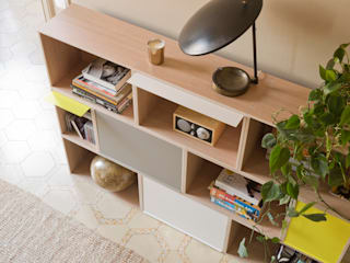 Mueble modular almacenaje para salón: Salones de estilo  de BrickBox - Portable Shelving Modular System