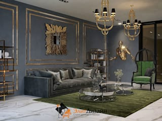 现代客厅設計點子、靈感 & 圖片 根據 ЭлитДизайн - студия дизайна интерьера 現代風