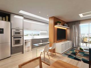 Apartamento 03: Salas de estar  por Entreponto Arquitetura