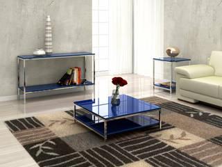 Sala de estar - vidro colorido + alumínio por eQeva Moderno