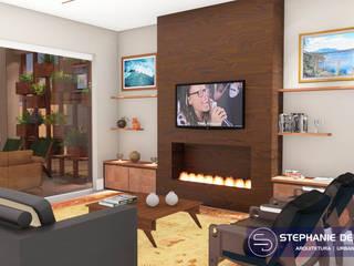 Projeto Residencia Unifamiliar Salas de estar modernas por Stephanie Delbaje Arquitetura e Interiores Moderno