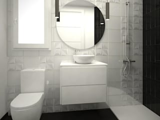 Grupo Inventia Baños de estilo moderno Azulejos Blanco