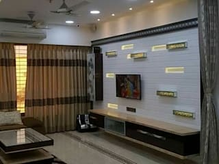 4bhk completed interior project at acme ozone manpada ghodbundar thane Modern living room by KUMAR INTERIOR THANE Modern