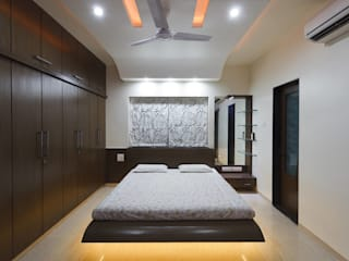 4bhk completed interior project at acme ozone manpada ghodbundar thane Modern style bedroom by KUMAR INTERIOR THANE Modern