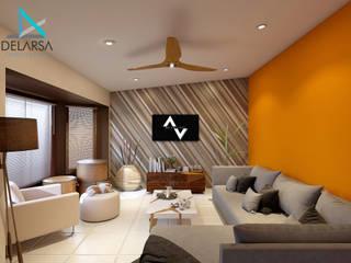 Diseño y Remodelación en Residencia SA, Mexicali B.C. Salones eclécticos de Delarsa Arquitectos Ecléctico