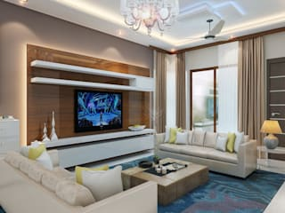 Independent Villa - Pune:  Living room by DECOR DREAMS