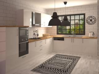 Nunu Yapı Mimarlık  – Beyaz Akrilik Mutfak :  tarz Ankastre mutfaklar
