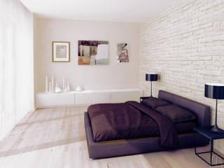 Projekt sypialni Minimalistyczna sypialnia od Moskou Architektura Wnętrz Minimalistyczny