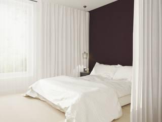 Projekt wnętrz mieszkania 67m2 Nowoczesna sypialnia od Moskou Architektura Wnętrz Nowoczesny
