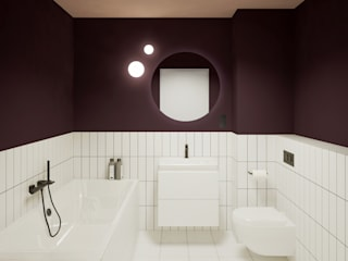 Projekt wnętrz mieszkania 67m2 Nowoczesna łazienka od Moskou Architektura Wnętrz Nowoczesny