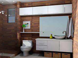 propuesta baño Baños de estilo moderno de Omar Interior Designer Empresa de Diseño Interior, remodelacion, Cocinas integrales, Decoración Moderno Cerámico