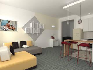 Openspace moderno con richiami vintage: Soggiorno in stile  di serenascaioli_progettidinterni