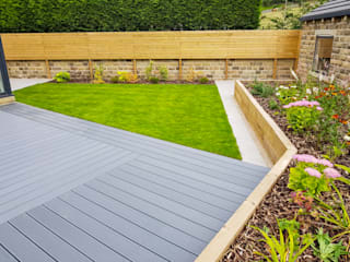 Composite Deck, Lawn and Raised Sleeper Bed:  Garden by Yorkshire Gardens