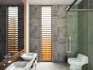 Kiuva arquitectura y diseño ห้องน้ำ คอนกรีต Wood effect