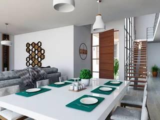 Kiuva arquitectura y diseño Minimalist dining room Marble White