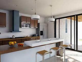 Kiuva arquitectura y diseño ครัวบิลท์อิน หินอ่อน White