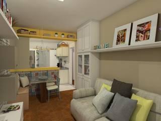 Sala do apartamento Retrô: Salas de estar  por AT arquitetos,Clássico