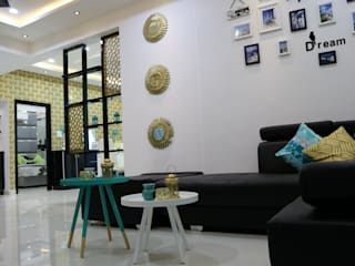 2BHK - Sai Subhashini Towers , Masjidbanda, Kondapur , Hyderabad Asian style living room by Enrich Interiors & Decors Asian