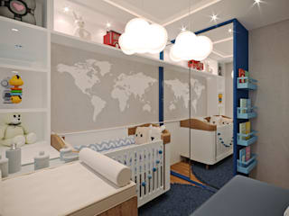 Aline Dinis Arquitetura de Interiores Baby room Wood Blue