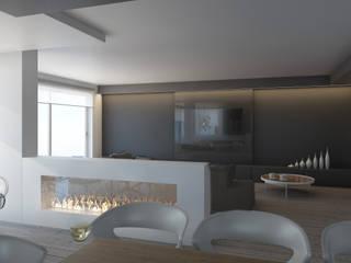 parete tv: Soggiorno in stile  di Silvana Barbato, StudioAtelier