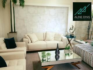 Aline Dinis Arquitetura de Interiores Soggiorno moderno Marmo Grigio