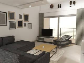 Rénovation d'un Duplex de 120 m2 à Mandelieu: Salon de style de style Moderne par Christine Vuillod, Architecte d'intérieur