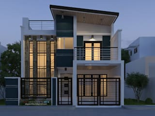 A proposed two storey residential building with a facade of mixed modern, contemporary:  Houses by  ABG Architects and Builders