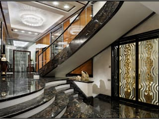 Rio, Atoll, Linea Wall and Koi in a luxury apartement Manooi Corridor, hallway & stairsLighting