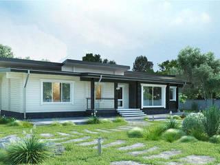 Проект одноэтажного дома из клееного бруса «Пущино» : Дома с террасами в . Автор – ООО 'Студия Клееного Бруса'