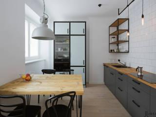 mieszkanie na Powiślu Eklektyczna kuchnia od JJJASKOLA ARCHITEKCI Eklektyczny