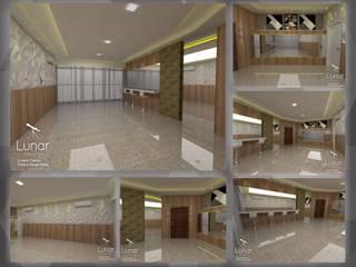 Salão de festas do Edifícil de Alto Padrão: Salas multimídia  por Lunar Projetos,Moderno