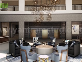 The Best Hotel Lobby - Waiting Area Rendering by interior concept drawings Los Angeles, USA Modern Oteller Yantram Architectural Design Studio Modern