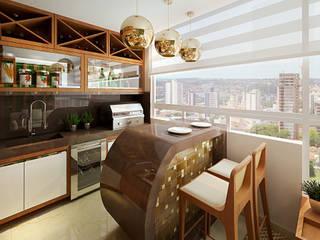 Área Gourmet: Terraços  por Letícia Damasceno   Arquitetura de Interiores,Moderno