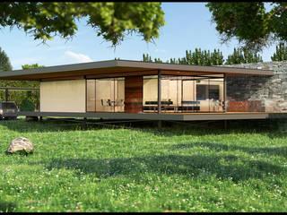 Perspectiva Exterior: Casas de estilo moderno por Geometrica Arquitectura