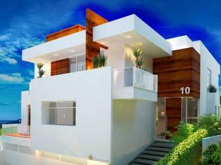 JACUHY HOUSE: Casas familiares  por DECEM ARQUITETURA E PLANEJAMENTO,Moderno