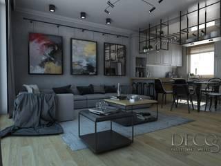 Skandynawski Loft Salon z kuchnia i jadalnią: styl , w kategorii Salon zaprojektowany przez Decostory