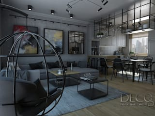 Skandynawski loft by Decostory Industrialny salon od Decostory Industrialny