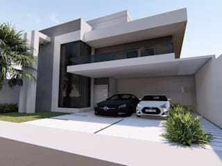 Fachada - Casa - Campo grande - Arquiteta: Casas  por Arquiteta Frann Costa,Moderno