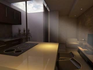 Departamentos Comerciales Y Locales: Cocinas equipadas de estilo  por Bocetos Studio Aquitectos, Minimalista