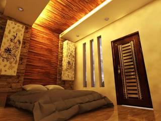 Departamentos Comerciales Y Locales: Recámaras de estilo  por Bocetos Studio Aquitectos, Moderno