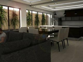 Casa residencial E&A Salones minimalistas de Bocetos Studio Aquitectos Minimalista