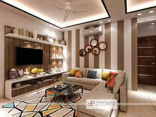 DDA flat at Vasant Kunj:  Living room by Design Essentials