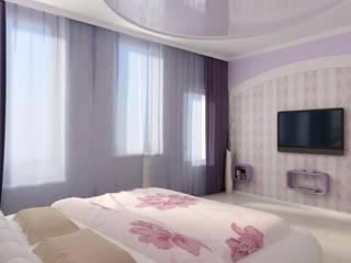 Спальня с пионами Спальня в стиле модерн от Цунёв_Дизайн. Студия интерьерных решений. Модерн