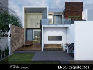 CASA ZAZEN FACHADA POSTERIOR: Casas de estilo moderno por Enso Arquitectos