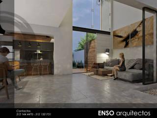 SALA COMERDOR CASA ZAZEN: Salas de estilo moderno por Enso Arquitectos