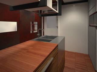 40 piedi: Cucina attrezzata in stile  di officinaleonardo, Moderno
