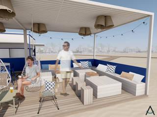 Estudi Aura, decoradores y diseñadores de interiores en Barcelona Bar & Club in stile mediterraneo Legno Bianco