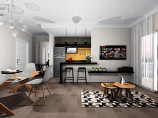 Cozinha e Sala: Salas de estar  por Rafaela Stedile Arquitetura + Interiores,Moderno