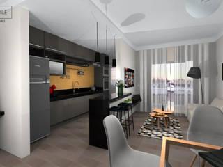 Cozinha e Sala: Armários e bancadas de cozinha  por Rafaela Stedile Arquitetura + Interiores,Moderno